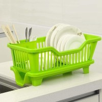 Bluewhale 3 in 1 Large Sink Set Dish Rack Drainer with Tray for Kitchen, Dish Rack Plastic Kitchen Rack(Green)
