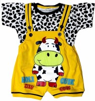 SAS Dungaree For Boys & Girls Party Printed Cotton Blend(Yellow, Pack of 1)
