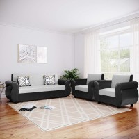 gnanitha Leather 3 + 1 + 1 silver Sofa Set