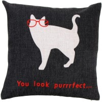 Lovely Cute Cat Cotton and Linen Pillowcase Back Cushion Cover Throw Pillow Case for Bed Sofa Car Home Decorative Decor 45 * 45cm(Black)