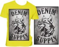 Casotec Denim Supply Custom Printed Designer Polyester Sports Round Neck T-Shirt - Yellow
