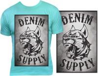 Casotec Denim Supply Custom Printed Designer Polyester Sports Round Neck T-Shirt - Blue