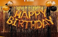 ablegate Solid Happy Birthday Alphabets Letter Foil Balloon (Golden – 13 PCS )+ 2 Pcs Gold Fringe Curtain (3 X 6 Feet) + Pack of 50 pcs Metallic Balloons (Black, Silver & Gold ) Balloon(Gold, Pack of 65)