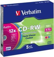 Verbatim CD Rewritable 700MB CD-RW Slim Case 5 Pack 700 MB