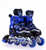 Optimus Adjustable Inline Roller Skates-PU Wheel Aluminium-Alloy LED Light With Brake In-line Skates - Size 34-39 Euro(Blue)