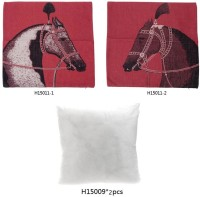 European Luxury Horse Cotton and Linen Pillowcase Back Cushion Cover Throw Pillow Case for Bed Sofa Car Home Decorative Decor 45 * 45cm(Red)