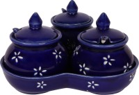 Craftghar Pickle Jar Set ( Ceramic 3 jars with lids, 3 spoons, 1 tray, Blue ) | Microwave Safe | Dinning table Storage container  - 170 ml, 170 ml, 170 ml Ceramic Pickle Container & Salt Pepper Container(Pack of 4, Blue)