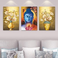 LEURO 3 pieces Contemporary Wall Art lord buddha and floral digital printed with frame on Canvas SELF ADHESIVE Picture Prints for Walls Canvas 27 inch x 12 inch Painting