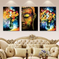 LEURO 3pcs digital printed Wall Art OIL BUDDHA AND FLOWER Painting digital printed on Canvas SELF ADHESIVE with frame Picture Prints for Walls Canvas Canvas 18 inch x 12 inch Painting