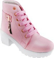 Creattoes Perfect Stylish Girls High Ankel Boots For Women(Pink)
