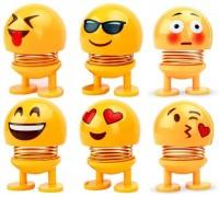 SP Car Dashboard Cut Spring Dancing Emoji Dolls(Yellow)