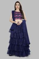 Divastri Solid Semi Stitched Lehenga, Choli and Dupatta Set(Dark Blue)