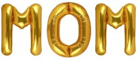 Stylewell Solid Popular And Trending Name ( Mom ) Parties, Celebrations 3D Foil Balloon(Gold, Pack of 3)
