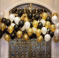 PartyballoonsHK Solid Birthday Balloons For Decoration Black,Golden and White Balloon(Black, White, Gold, Pack of 50)
