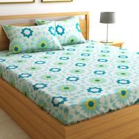 Flipkart SmartBuy 104 TC Cotton Double Geometric Bedsheet(Pack of 1, Blue)