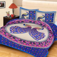 METRO LIVING 104 TC Cotton Double Printed Bedsheet(Pack of 1, Blue)