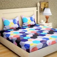 IWS 144 TC Microfiber Double Geometric Bedsheet(Pack of 1, Multicolor)