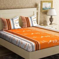 IWS 104 TC Cotton Double Printed Bedsheet(Pack of 1, Orange, White)