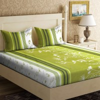 IWS 104 TC Cotton Double Printed Bedsheet(Pack of 1, Green)
