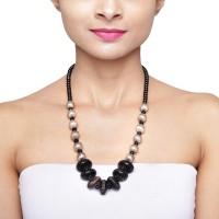 Saivites Saivites Fancy Necklace Black Silver Plated Metal Choker