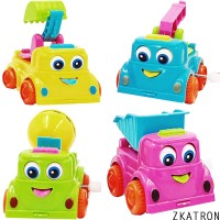 ZKATRON Non- Breakable Long Lasting WIND UP Construction Toy Vehicle Set /Trucks(Multicolor, Pack of: 4)