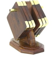 V A Antiques Square Wood Coaster(Pack of 6)
