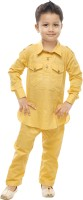 Celebrity club Boys Festive & Party Pathani Suit Set(Yellow Pack of 1)