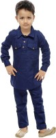 CELEBRITY CLUB Boys Festive & Party Pathani Suit Set(Blue Pack of 1)