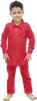 Celebrity club Boys Festive & Party Pathani Suit Set(Red Pack of 1)