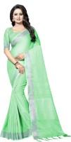 RadadiyaTRD Self Design, Solid Bollywood Cotton Jute Blend, Cotton Linen Blend Saree(Light Green)