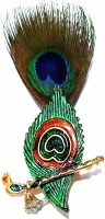 Shri Ram Creations Metal Mor Pankh bansuri brooch with Peacock Feather pack of 10 pcs. Brooch(Multicolor)