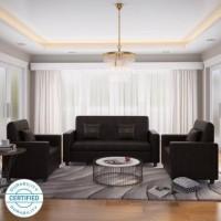 Westido Leatherette 3 + 1 + 1 Brown Sofa Set