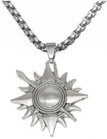 Men Style New Rock Star Sun Karan Kavach Locket With Chain Sterling Silver Stainless Steel Pendant Set