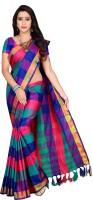 Shaibo saree Checkered Fashion Cotton Silk Saree(Blue)