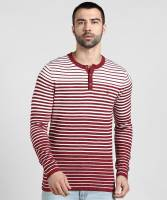 United Colors of Benetton Striped Men Henley Neck Red T-Shirt