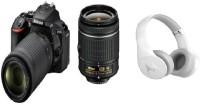 NIKON D5600 DSLR Camera Body with Dual Lens: AF-P DX Nikkor 18 - 55 MM F/3.5-5.6G VR and 70-300 MM F/4.5-6.3G ED VR (16 GB SD Card) - (With Motorola Bluetooth Headphone) DSLR Camera Body with Dual Lens: AF-P DX Nikkor 18 - 55 MM F/3.5-5.6G VR and 70-300 MM F/4.5-6.3G ED VR (16 GB SD Card)(Black)