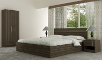 Akshni Engineered Wood Bed + Side Table + Wardrobe(Finish Color - Sapphire Ebony)