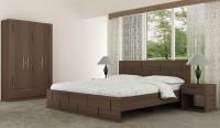 Akshni Engineered Wood Bed + Side Table + Wardrobe(Finish Color - Walnut)