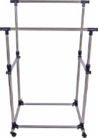 Swadhin Double-pole Cloth Hanger Stand Stainless Steel Floor Cloth Dryer Stand(Silver)