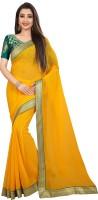 Anand Sarees Self Design Fashion Chiffon Saree(Yellow)