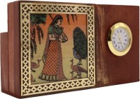 Klowage Pen Stand with Clock and Painting Decorative Showpiece  -  8.5 cm(Wood, Multicolor)