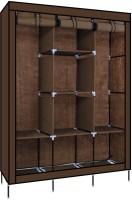 KriShyam KS_88130DARKBROWN001 Metal 3 Door Wardrobe(Finish Color - DARK BROWN)