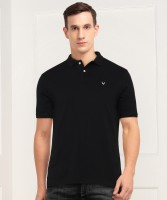 allen solly Solid Men Polo Neck Black T-Shirt