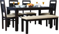 HomeTown Flora Solid Wood 6 Seater Dining Set(Finish Color - Walnut)