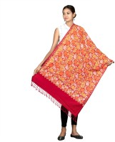 Tweedle Wool Embroidered Women Shawl(Red)