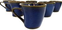 Bobby Designs Pack of 6 Ceramic Ceramic Handmade Glossy Blue Designer Tea/Coffee Cups Set of 6(Blue)