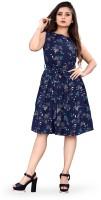 B4U Women Skater Blue Dress