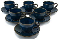 Bobby Designs Ceramic Handmade Glossy Blue Designer Cups Saucers Ceramic(Blue, Pack of 12)