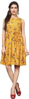 HIVA TRENDZ Women Fit and Flare Yellow Dress