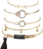 Jewels Galaxy Copper Cubic Zirconia Gold-plated Bracelet(Pack of 5)